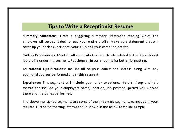 Receptionist Resume Template PDF – Skills for Receptionist Resume
