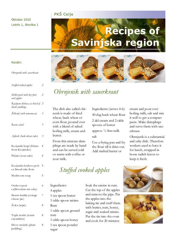 PKŠ CeljeOktober 2010Letnik 1, številka 1                                                      Recipes of                 ...