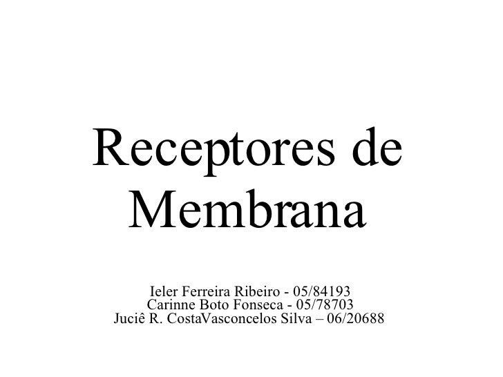 Ieler Ferreira Ribeiro - 05/84193 Carinne Boto Fonseca - 05/78703 Juciê R. CostaVasconcelos Silva – 06/20688 Receptores de...
