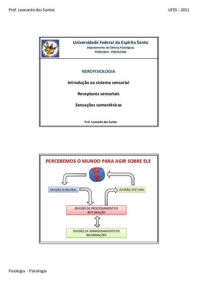 Prof.LeonardodosSantos UFES‐ 2011 Fisiologia‐ Psicologia UniversidadeFederaldoEspíritoSanto DepartamentodeCiên...