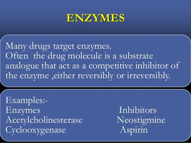ENZYMES Many drugs target enzymes. Often the drug molecule is a substrate analogue that act as a competitive inhibitor of ...