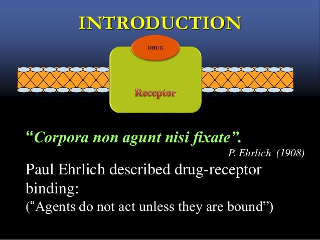 "INTRODUCTION ""Corpora non agunt nisi fixate"". P. Ehrlich (1908) Paul Ehrlich described drug-receptor binding: (""Agents do ..."