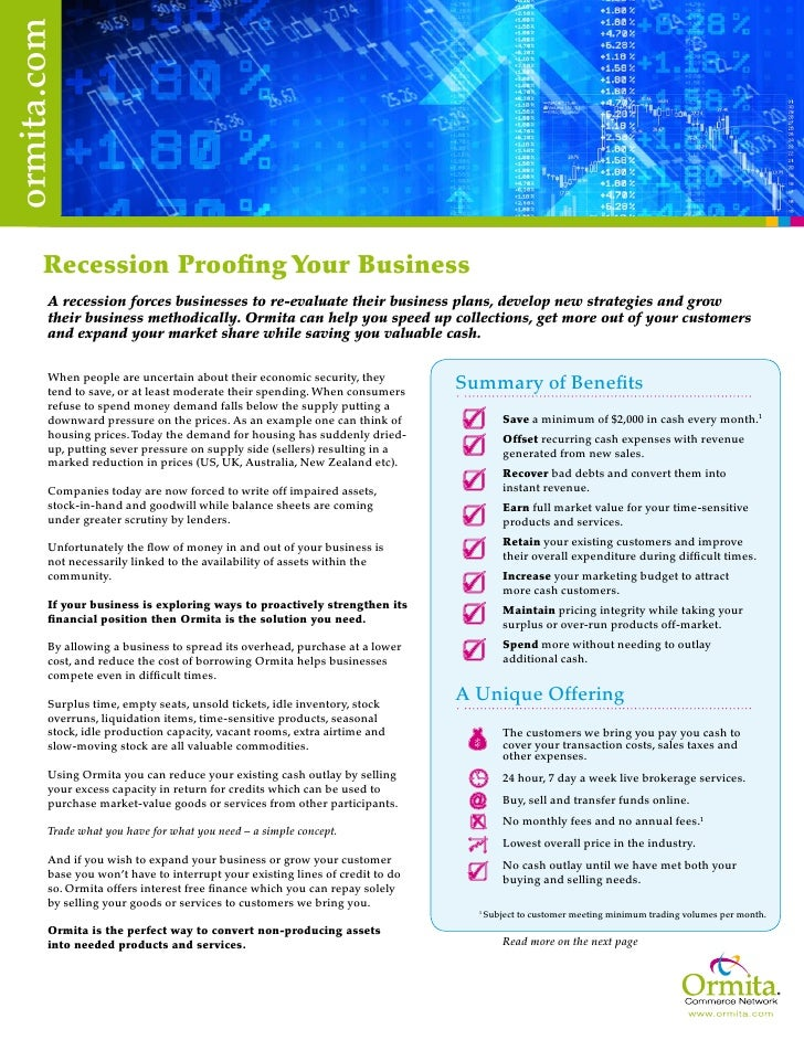 ormita.com            Recession Proofing Your Business         A recession forces businesses to re-evaluate their business...