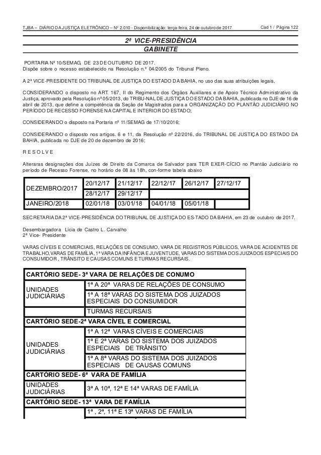 Cad 1 / Página 122TJBA – DIÁRIO DA JUSTIÇA ELETRÔNICO – Nº 2.010 - Disponibilização: terça-feira, 24 de outubro de 2017 2ª...