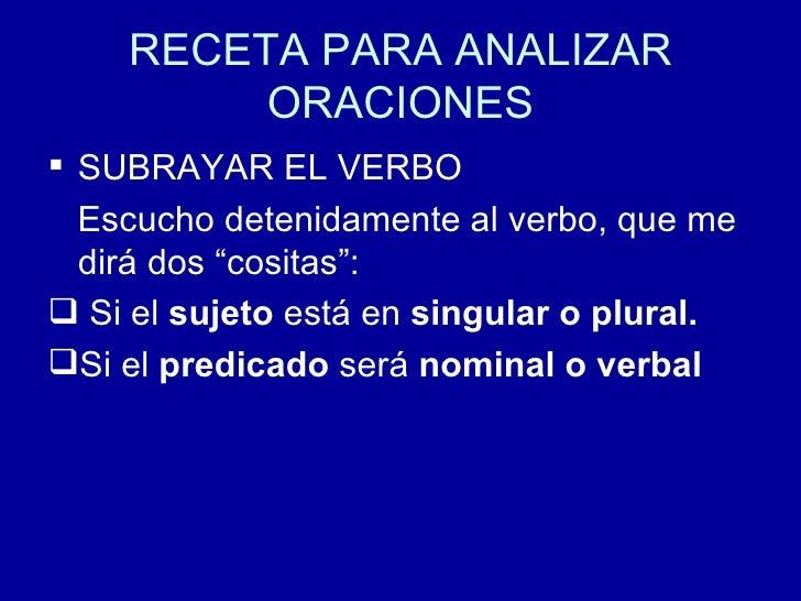 RECETA PARA ANALIZAR ORACIONES <ul><li>SUBRAYAR EL VERBO </li></ul><ul><li>Escucho detenidamente al verbo, que me  dirá do...
