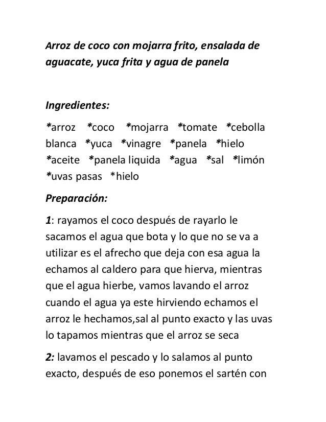 Como Hacer Arroz De Coco Con Mojarra Fritaensalada De Aguacateyuca