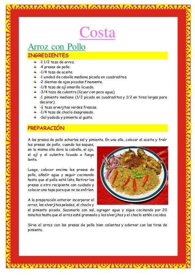 Receta de cocina costa sierra y selva Cocinar con 5 ingredientes