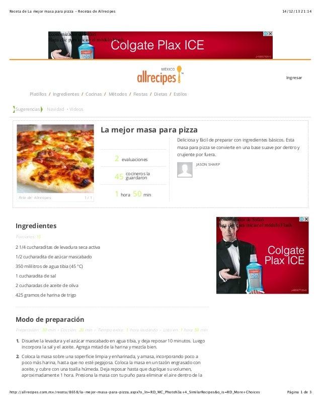 Receta De La Mejor Masa Para Pizza Recetas De Allrecipes