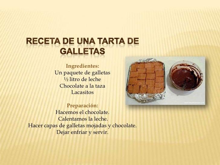 Receta Español E Ingles. RecETA DE UNA TARTA DE U003cbr /u003eGALLETASu003cbr  /u003eIngredientes: ...