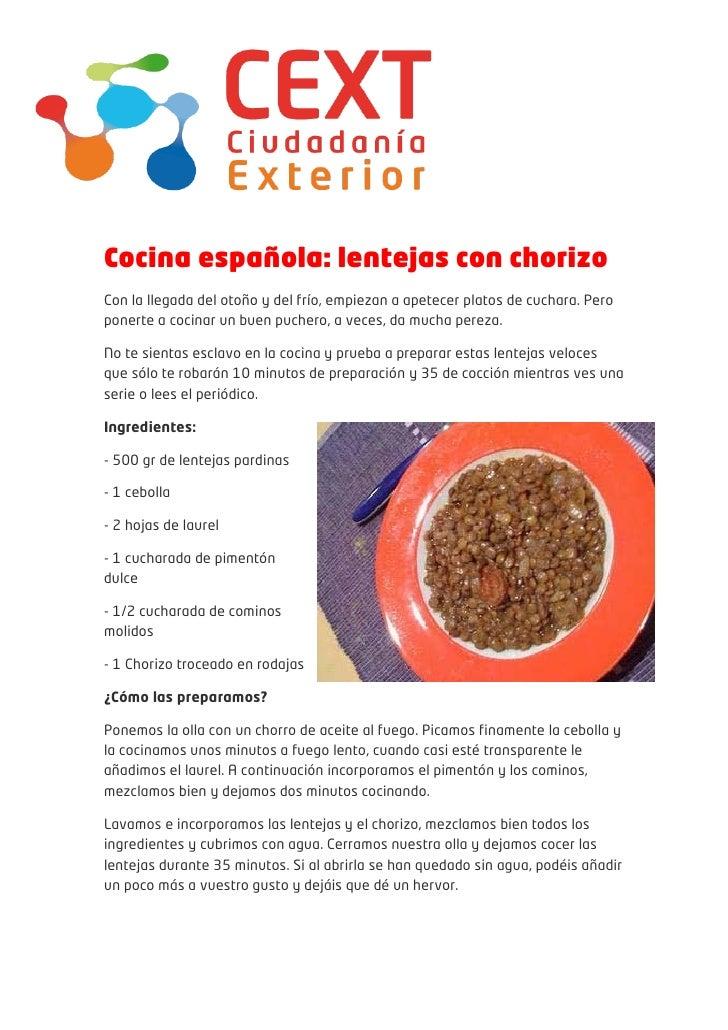Cocina espa ola lentejas for Cocina espanola
