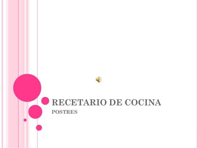 RECETARIO DE COCINA POSTRES