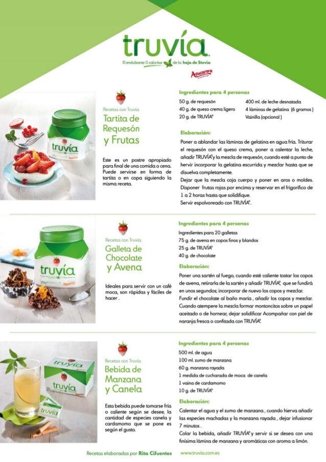 Recetas con  El endulzante 0 calorías  Recetas con TRUVÍA ®  Mini  Muffins  Recetas con TRUVÍA ®  Cóctel de  Fre s a y Nara...