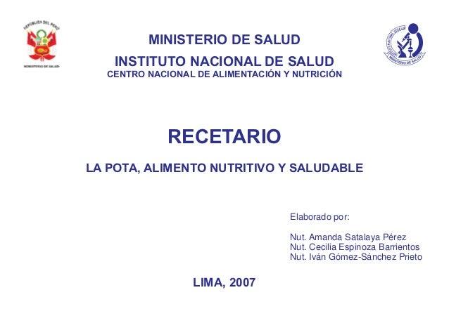 UDLASED LANOICANOTUTI TSNI MINISTERIO DE SALUD INSTITUTO NACIONAL DE SALUD CENTRO NACIONAL DE ALIMENTACIÓN Y NUTRICIÓN REC...
