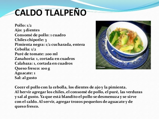 CALDO TLALPEÑO Pollo: 1/2 Ajo: 3 dientes Consomé de pollo: 1 cuadro Chiles chipotle: 3 Pimienta negra: 1/2 cucharada, ente...