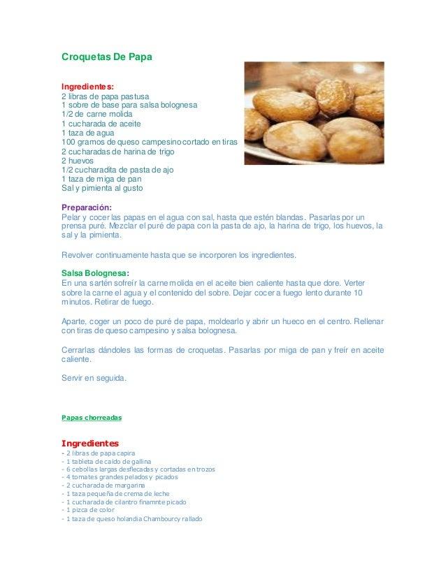 Croquetas De Papa Ingredientes: 2 libras de papa pastusa 1 sobre de base para salsa bolognesa 1/2 de carne molida 1 cuchar...