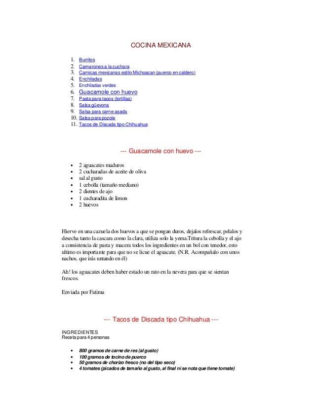 Image Result For Recetas De Comida Cortas Mexicanas