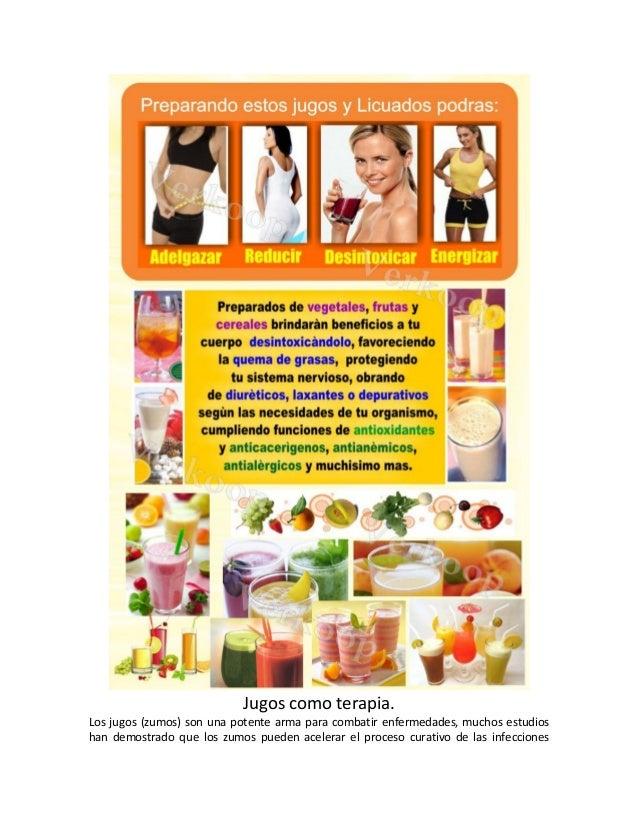 Jugos como terapia. Los jugos (zumos) son una potente arma para combatir enfermedades, muchos estudios han demostrado que ...