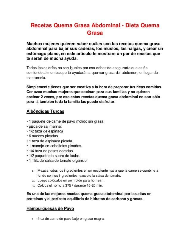 Recetas Quema Grasa Abdominal - Dieta Quema Grasa