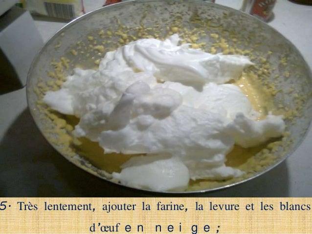 6. Verser la pâte dans un moule graissé et saupoudré de                        farine ;