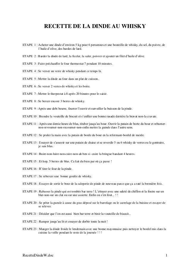 RecetteDindeW.doc 1 RECETTE DE LA DINDE AU WHISKY ETAPE 1 : Acheter une dinde d'environ 5 kg pour 6 personnes et une boute...