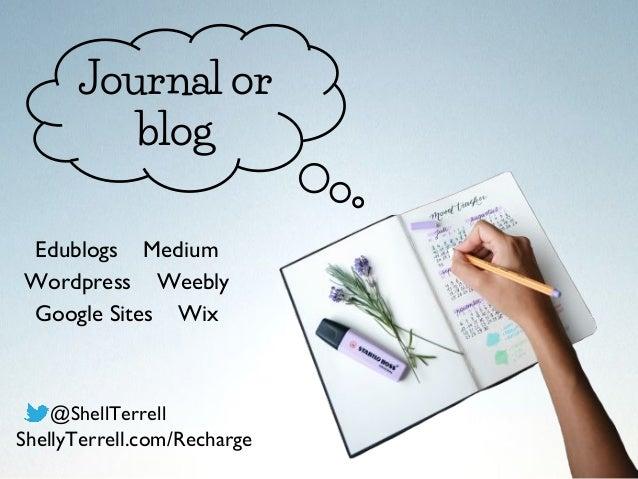 Journal or blog Edublogs Medium Wordpress Weebly Google Sites Wix @ShellTerrell ShellyTerrell.com/Recharge