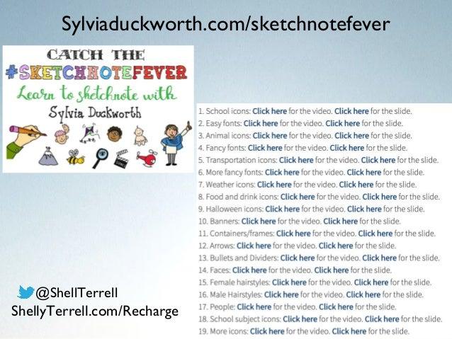 Sylviaduckworth.com/sketchnotefever @ShellTerrell ShellyTerrell.com/Recharge