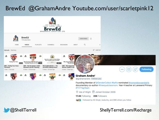 BrewEd @GrahamAndre Youtube.com/user/scarletpink12 @ShellTerrell ShellyTerrell.com/Recharge