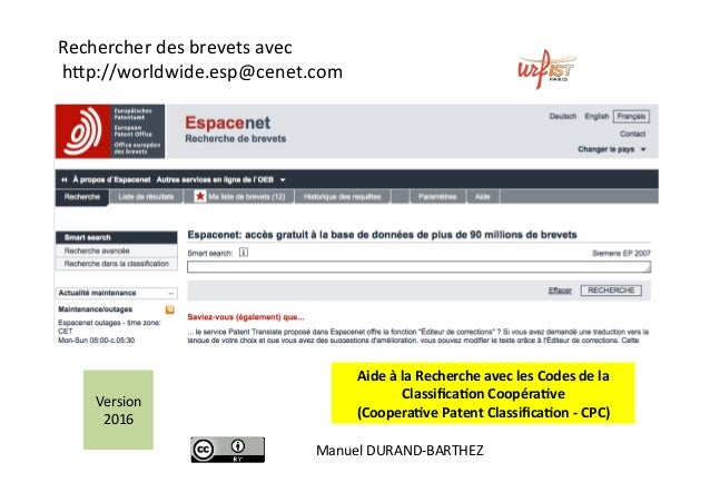 Rechercherdesbrevetsavec h-p://worldwide.esp@cenet.com  AideàlaRechercheaveclesCodesdela Classifica2onCoop...