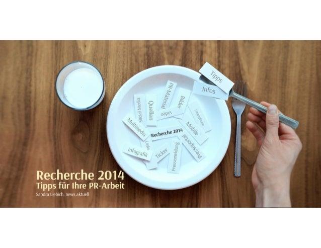 """""""Recherche 2014"""": Tipps für die PR-Arbeit"""