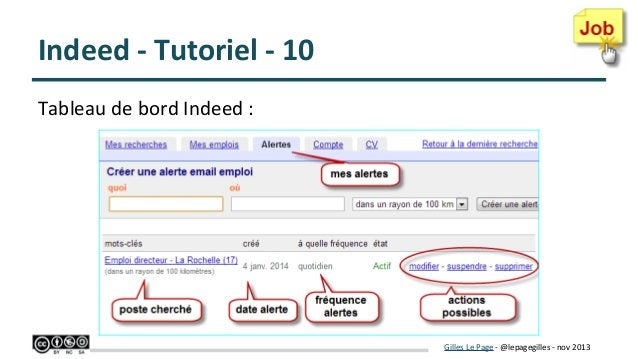 Indeed - Tutoriel - 10 Tableau de bord Indeed :  Gilles Le Page - @lepagegilles - nov 2013
