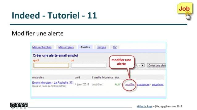 Indeed - Tutoriel - 11 Modifier une alerte  Gilles Le Page - @lepagegilles - nov 2013