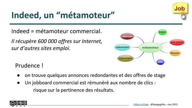 """Indeed, un """"métamoteur"""" Indeed = métamoteur commercial. Il récupère 600 000 offres sur Internet, sur d'autres sites emploi..."""