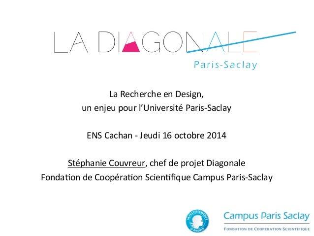 La  Recherche  en  Design,  un  enjeu  pour  l'Université  Paris-‐Saclay  ENS  Cachan  -‐  Jeudi  16  octobre  2014  Sté...