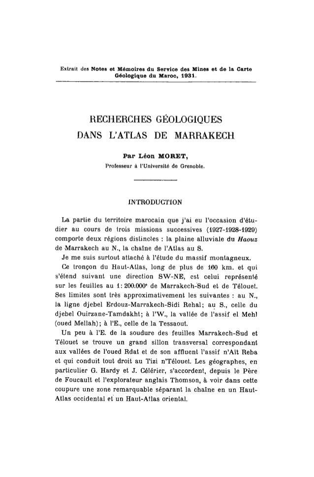 Extrait des Notes et Mémoires du Service des Mines et de la Carte Géologique du Maroc, 1931. RECHERCHES GÉOLOGIQUES DANS L...