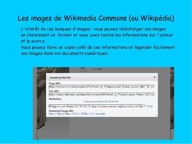 Les images de Wikimedia Commons (ou Wikipédia) L'intérêt de ces banques d'images: vous pouvez télécharger vos images en c...