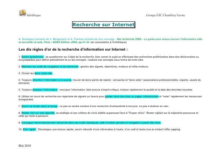 Recherche sur Internet<br />► Quelques conseils de V. Mesguisch et A. Thomas extraits de leur ouvrage : Net recherche 2009...