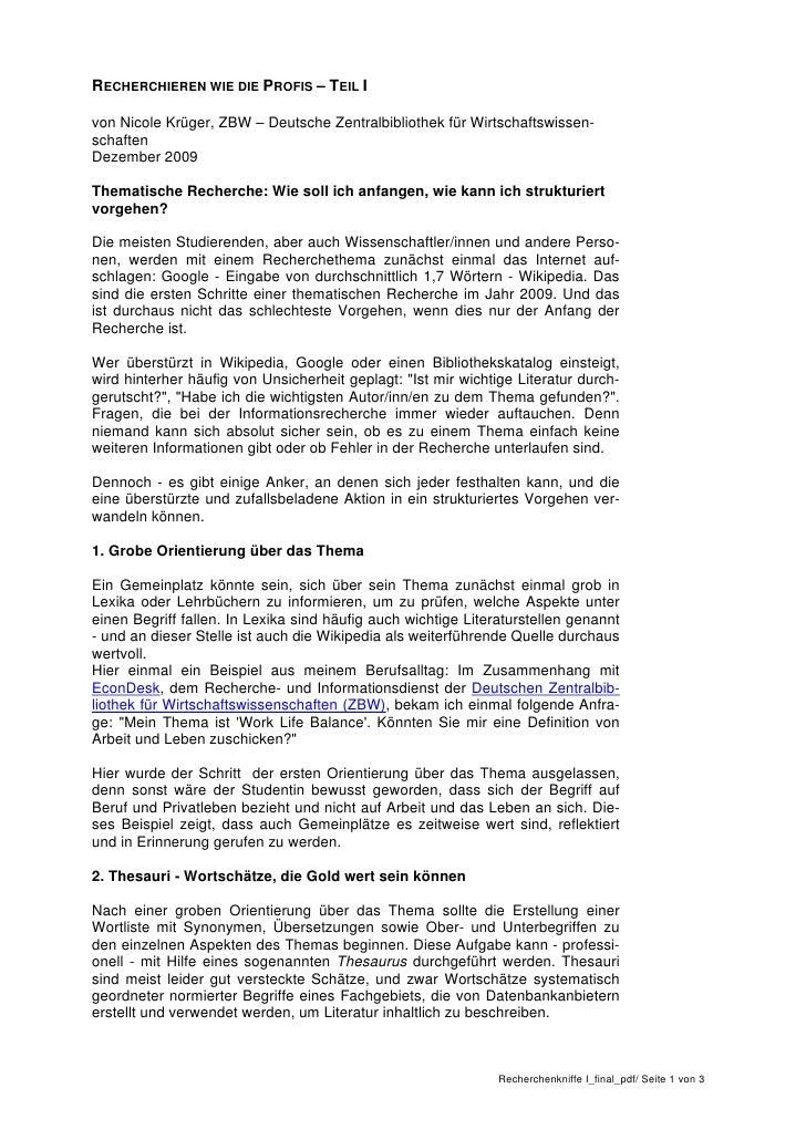 RECHERCHIEREN WIE DIE PROFIS – TEIL Ivon Nicole Krüger, ZBW – Deutsche Zentralbibliothek für Wirtschaftswissen-schaftenDez...