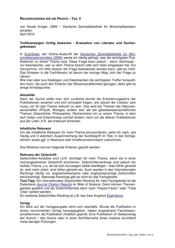 RECHERCHIEREN WIE DIE PROFIS – TEIL Vvon Nicole Krüger, ZBW – Deutsche Zentralbibliothek für Wirtschaftswissen-schaftenApr...