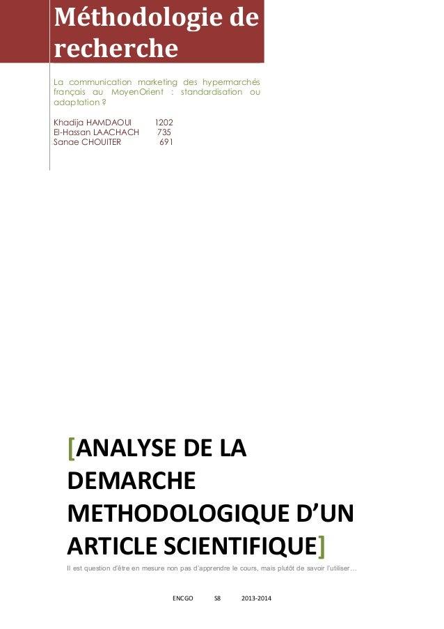 [Tapez un texte] ENCGO S8 2013-2014 Méthodologie de recherche La communication marketing des hypermarchés français au Moye...