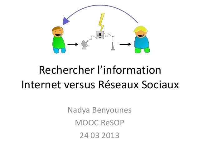 Rechercher l'informationInternet versus Réseaux Sociaux         Nadya Benyounes          MOOC ReSOP           24 03 2013
