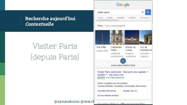 @aysunakarsu @searchdatalogy #QueDuWeb Visiter Paris (depuis Paris) Recherche aujourd'hui Contextuelle