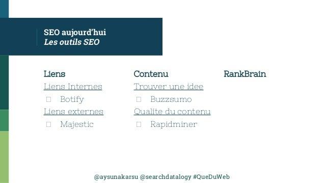 @aysunakarsu @searchdatalogy #QueDuWeb SEO aujourd'hui Les outils SEO Liens Liens Internes Botify Liens externes Majestic ...