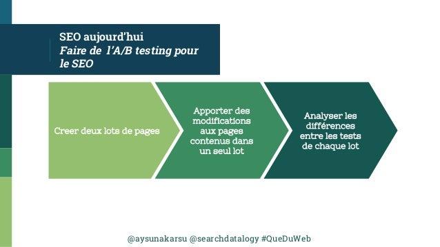 @aysunakarsu @searchdatalogy #QueDuWeb SEO aujourd'hui Faire de l'A/B testing pour le SEO Creer deux lots de pages Apporte...