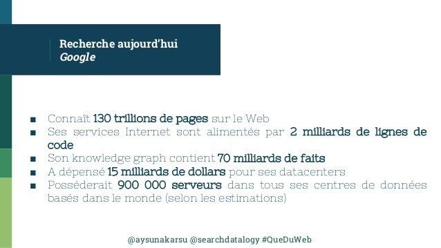 @aysunakarsu @searchdatalogy #QueDuWeb ■ Connaît 130 trillions de pages sur le Web ■ Ses services Internet sont alimentés ...