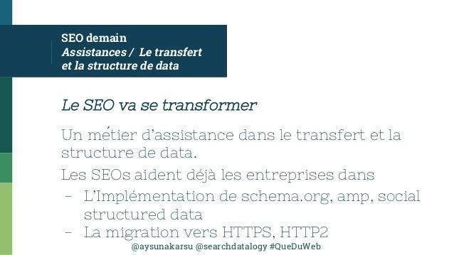 @aysunakarsu @searchdatalogy #QueDuWeb SEO demain Assistances / Le transfert et la structure de data Le SEO va se transfor...