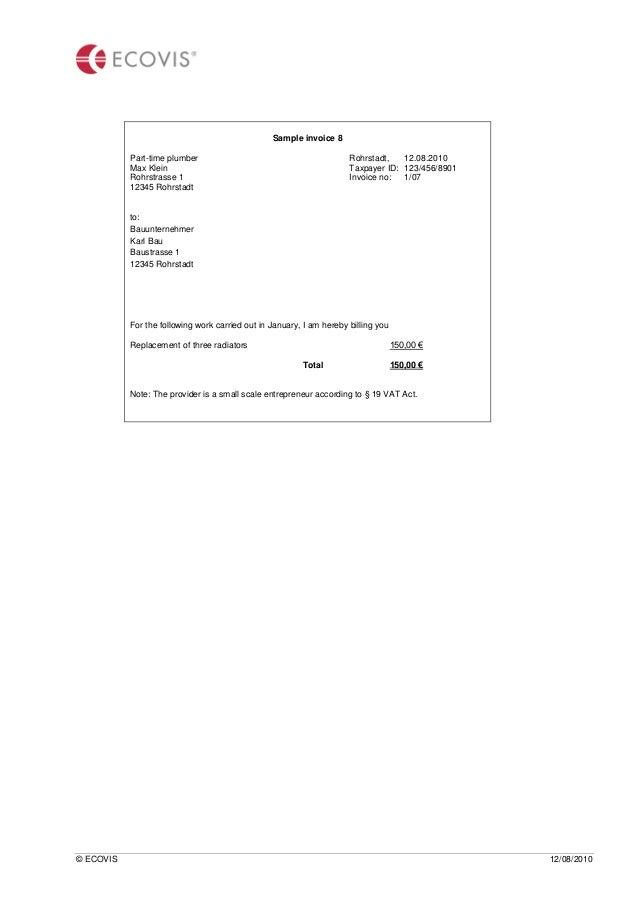 german vat regulations, Invoice templates
