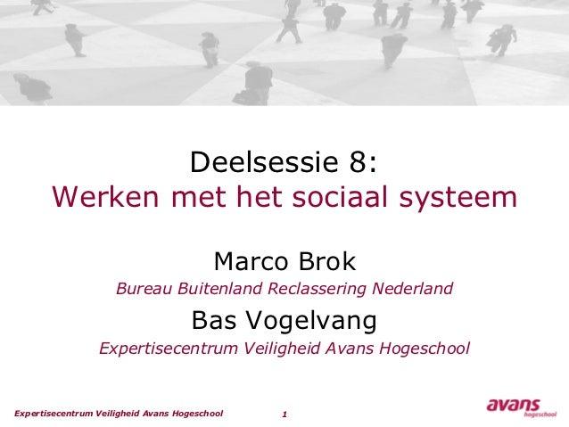 Deelsessie 8:       Werken met het sociaal systeem                                         Marco Brok                     ...