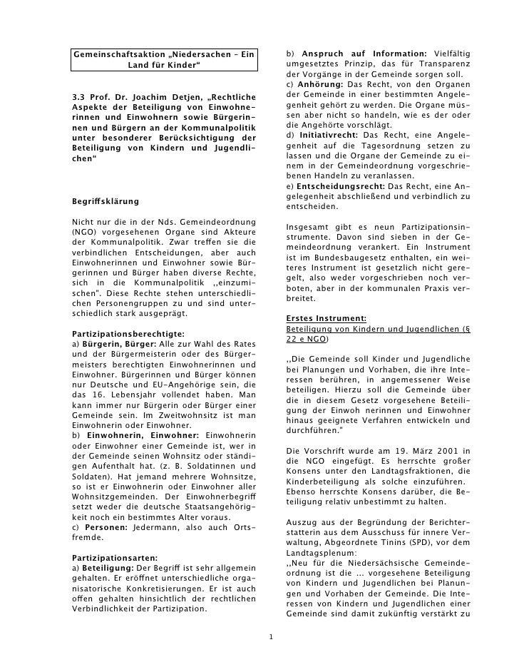 """Gemeinschaftsaktion """"Niedersachen – Ein              b) Anspruch auf Information: Vielfältig          Land für Kinder""""    ..."""