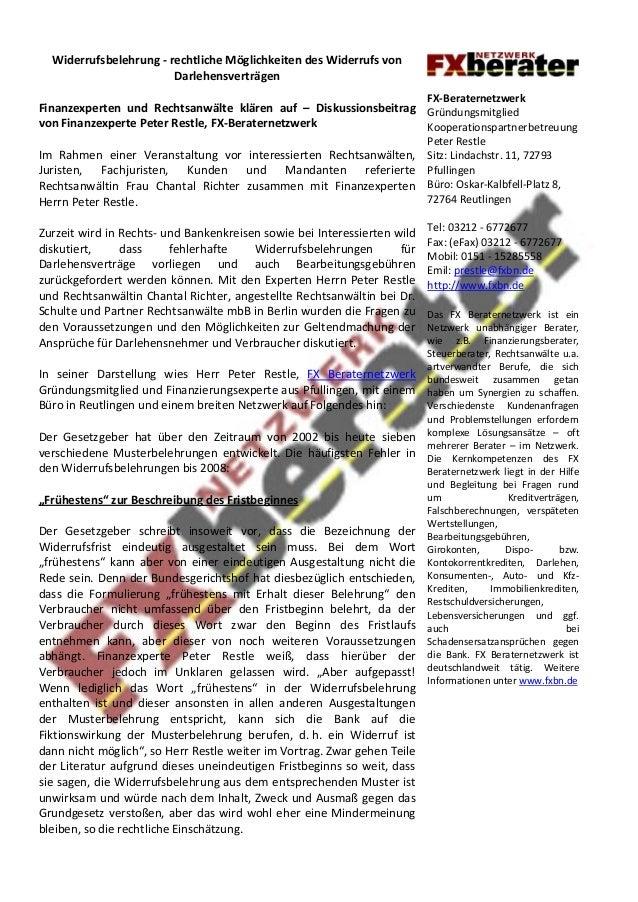 Widerrufsbelehrung - rechtliche Möglichkeiten des Widerrufs von Darlehensverträgen  Finanzexperten und Rechtsanwälte kläre...