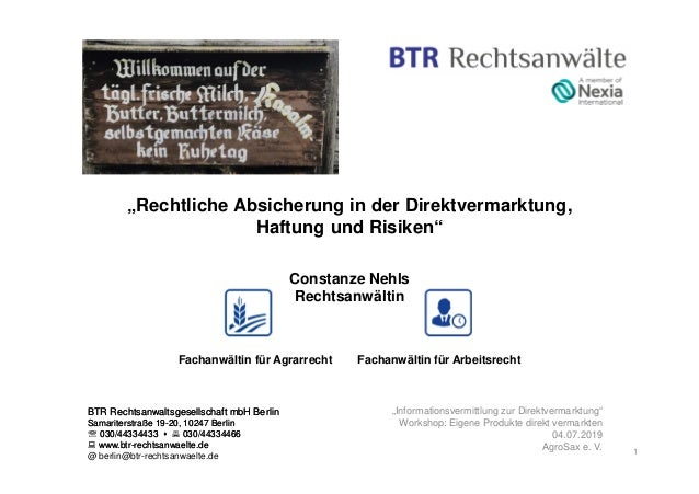 BTR Rechtsanwaltsgesellschaft mbH Berlin Samariterstraße 19-20, 10247 Berlin ℡ 030/44334433 030/44334466 www.btr-rechtsanw...